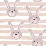 Modello senza cuciture con il piccolo coniglietto sveglio Illustrazione di vettore Fotografia Stock