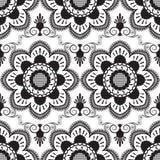 Modello senza cuciture con il pizzo in bianco e nero di mehndi degli elementi della decorazione di buta del fiore su fondo bianco illustrazione di stock