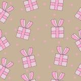 Modello senza cuciture con il regalo rosa con l'arco Fotografie Stock