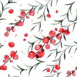 Modello senza cuciture con il ribes rosso ed i rosmarini l'acquerello ha piastrellato il fondo royalty illustrazione gratis