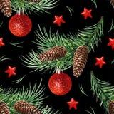 Modello senza cuciture con il simbolo di Natale - albero di Natale con i coni, le stelle e le palle su fondo nero illustrazione di stock