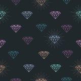 Modello senza cuciture con il simbolo variopinto del diamante del profilo Immagine Stock Libera da Diritti