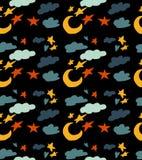 Modello senza cuciture con il tema del cielo Bello modello del fumetto con la luna, le nuvole e le stelle illustrazione di stock