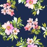 Modello senza cuciture con l'acquerello dei fiori Immagini Stock