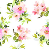 Modello senza cuciture con l'acquerello dei fiori Fotografie Stock