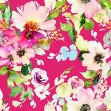Modello senza cuciture con l'acquerello dei fiori Fotografie Stock Libere da Diritti