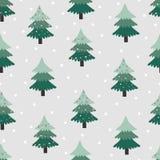Modello senza cuciture con l'albero di Natale su fondo grigio royalty illustrazione gratis