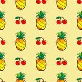 Modello senza cuciture con l'ananas e la ciliegia disegnati a mano Immagine Stock Libera da Diritti