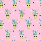 Modello senza cuciture con l'ananas nello stile di Pop art Fotografia Stock