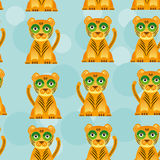 Modello senza cuciture con l'animale sveglio divertente del giaguaro sopra Fotografia Stock Libera da Diritti