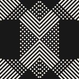 Modello senza cuciture con l'attraversamento delle linee diagonali, bande, quadrati Struttura etnica moderna di stile Immagini Stock Libere da Diritti