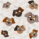 Modello senza cuciture con l'illustrazione dei cani illustrazione vettoriale