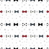 Modello senza cuciture con l'illustrazione maschio di vettore dei farfallini Fondo, rosso ed il nero bianchi illustrazione di stock