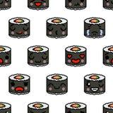 Modello senza cuciture con l'illustrazione sveglia del fumetto di vettore dei sushi di emoji di kawaii illustrazione vettoriale