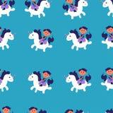 Modello senza cuciture con l'illustrazione sveglia di vettore di guida del ragazzo e dell'unicorno su fondo blu Illustrazione var royalty illustrazione gratis