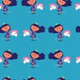 Modello senza cuciture con l'illustrazione sveglia di vettore di principessa e dell'unicorno su fondo blu Illustrazione variopint illustrazione vettoriale