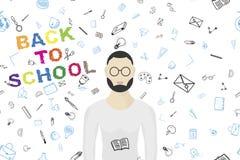 Modello senza cuciture con l'insegnante ed insieme degli elementi del disegno per istruzione con gli accessori endolar Illustrazi Immagine Stock
