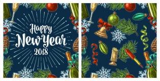 Modello senza cuciture con l'iscrizione 2018 di calligrafia del buon anno Fotografia Stock