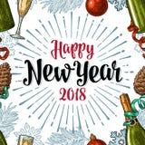 Modello senza cuciture con l'iscrizione 2018 di calligrafia del buon anno Fotografie Stock