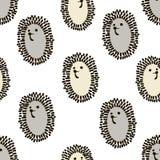 Modello senza cuciture con l'istrice sveglio nello stile scandinavo Fondo puerile creativo per tessuto, tessuto Immagini Stock