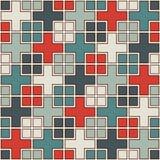 Modello senza cuciture con l'ornamento geometrico Quadrati ripetuti e fondo astratto degli incroci Struttura di superficie modern Immagini Stock Libere da Diritti