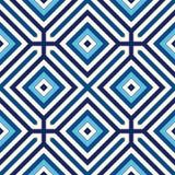 Modello senza cuciture con l'ornamento geometrico simmetrico Priorità bassa astratta blu Fotografie Stock Libere da Diritti