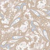Modello senza cuciture con l'ornamento orientale delicato Colori beige e blu Illustrazione di vettore royalty illustrazione gratis