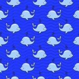 Modello senza cuciture con la balena sull'oceano blu Immagini Stock Libere da Diritti