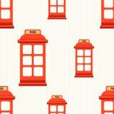 Modello senza cuciture con la cabina telefonica rossa Fotografie Stock