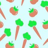 Modello senza cuciture con la carota ed il pomodoro Fotografia Stock Libera da Diritti