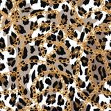 Modello senza cuciture con la catena dell'oro sulla pelle, sulla cinghia e sulle perle di lepard Illustrazione fotografia stock