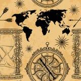 Modello senza cuciture con la clessidra d'annata, la bussola, la mappa di mondo e la rosa dei venti royalty illustrazione gratis