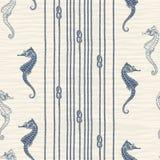 Modello senza cuciture con la corda, i nodi e gli ippocampi marini Fotografia Stock