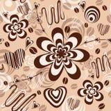 Modello senza cuciture con la crema ed il caffè del cioccolato Fotografie Stock