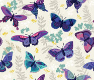 Modello senza cuciture con la farfalla ed i fiori Fotografia Stock Libera da Diritti