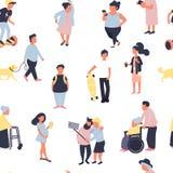Modello senza cuciture con la gente del fumetto che cammina sulla via Folla dei caratteri minuscoli maschii e femminili Senza cuc illustrazione vettoriale