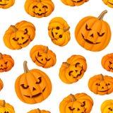 Modello senza cuciture con la Jack-O-lanterna (zucche di Halloween) Illustrazione di vettore Immagini Stock