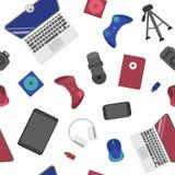 Modello senza cuciture con la leva di comando, computer portatile, topo del computer, webcam illustrazione vettoriale