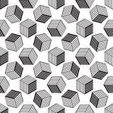 Modello senza cuciture con la linea cubi isometrici di stile Immagine Stock