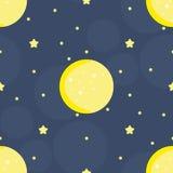 Modello senza cuciture con la luna e le stelle dentro Fondo sveglio di tiraggio della mano Immagini Stock