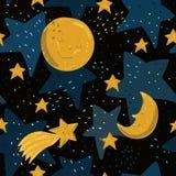 Modello senza cuciture con la luna, le stelle e la cometa gialle con i fronti sul fondo nero del cielo nello stile del fumetto Fotografie Stock Libere da Diritti