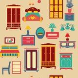 Modello senza cuciture con la mobilia dell'insieme di camera da letto - illustrazione Fotografia Stock