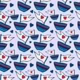 Modello senza cuciture con la nave disegnata a mano I bambini rossi ed il modello senza cuciture blu possono essere usati per i m Fotografia Stock Libera da Diritti