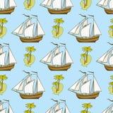 Modello senza cuciture con la nave, le palme e l'isola illustrazione di stock