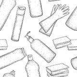 Modello senza cuciture con la raccolta disegnata a mano dei prodotti per governo della casa Fotografia Stock Libera da Diritti