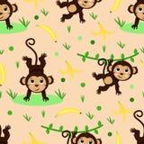 Modello senza cuciture con la scimmia e la banana - illustrazione di vettore, ENV royalty illustrazione gratis