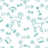 Modello senza cuciture con la siluetta del barboncino, pettine, collare, impronta di cane illustrazione vettoriale