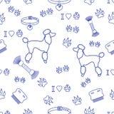 Modello senza cuciture con la siluetta del barboncino, pettine, collare, impronta di cane royalty illustrazione gratis