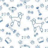 Modello senza cuciture con la siluetta del barboncino, pettine, collare, impronta di cane illustrazione di stock