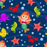 Modello senza cuciture con la sirena e gli animali di mare Immagini Stock Libere da Diritti